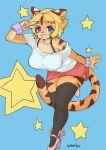 2018 5_fingers absolute_territory absurd_res anthro big_breasts blonde_hair blue_background breasts brown_fur brown_stripes clothing countershading feline female footwear full-length_portrait fur hair happy hi_res high_heels kemono leaning leaning_forward legwear looking_at_viewer mammal open_mouth pawpads portrait pose purple_eyes shirt shoes short_hair simple_background skirt solo standing star striped_fur stripes thigh_highs tiger v_sign wanko0487