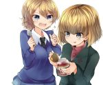 2girls :d :p amai_nekuta bangs black_neckwear blonde_hair blue_eyes blue_skirt blue_sweater clenched_hands closed_mouth commentary_request darjeeling dress_shirt emblem excited eyebrows_visible_through_hair fork girls_und_panzer green_jacket holding holding_fork holding_spoon jacket jam jar katyusha long_sleeves looking_at_another miniskirt multiple_girls necktie open_mouth pleated_skirt pravda_school_uniform red_shirt school_uniform shirt short_hair simple_background skirt smile sparkle spoon st._gloriana's_school_uniform standing sweater tied_hair tongue tongue_out turtleneck v-neck v-shaped_eyebrows white_background white_shirt wing_collar