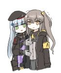 2girls armband arms_at_sides balkenkreuz bangs beret black_hat black_jacket blunt_bangs blush_stickers breast_conscious brown_eyes brown_hair clothes_writing crossed_bangs eyebrows_visible_through_hair facial_hair girls_frontline gloves green_eyes hair_ornament hat highres hk416_(girls_frontline) image_sample iron_cross jacket long_hair multiple_girls neck_ribbon omnisucker ribbon scar scar_across_eye sidelocks silver_hair teardrop trembling twintails twitter_sample ump45_(girls_frontline) uniform white_gloves