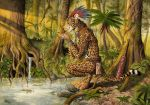 0laffson 2018 anthro aztec cat crouching detailed_background drinking feline forest jaguar macuahuitl male mammal mesoamerican outside pond rainforest spring traditional_media_(artwork) tree tribal tribal_clothing tropical warrior watercolor_(artwork) waterfall