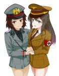 2girls absurdres adolf_hitler armband bangs benito_mussolini black_hair blue_eyes breast_press breasts brown_eyes brown_hair cowboy_shot eyes_visible_through_hair fringe genderswap genderswap_(mtf) germany hand_holding hat highres iron_cross italy long_hair looking_at_viewer medium_breasts military military_hat military_uniform multiple_girls nazi necktie no_pants open_mouth parted_lips real_life short_hair smile source_request standing symmetrical_docking uniform world_war_ii