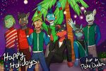 anthro anthrofied beach chespin christmas clothed clothing electrike fully_clothed fuze gao_(fuze) group hi_res holidays jolt_(fuze) lucas_(fuze) male marshtomp night nintendo palm_tree pawl_(fuze) pokémon pokémon_(species) poochyena riolu seaside shinx sitting standing torracat tree video_games