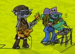 abstract_background anthro band bass_guitar beanie c canine cate_wurtz clothing dog eyewear fox guitar hat keyboard mammal microphone musical_instrument overalls singing sour_gummy striped_shirt sunglasses sweater teeth