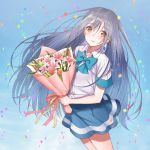 1girl blue_bow blue_skirt blush bouquet bow brown_eyes confetti flower indoors irozuku_sekai_no_ashita_kara jewelry long_hair looking_at_viewer minatoasu school_uniform silver_hair single_earring skirt sky solo standing tsukishiro_hitomi very_long_hair