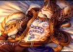 2018 abs anthro clothed clothing clouded_leopard feline fur hi_res hoodie likulau male mammal muscular nekojishi rabbity sleeping solo spots tattoo