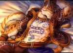 2018 abs anthro clothed clothing clouded_leopard feline fur hi_res hoodie likulau male mammal muscular nekojishi rabbity spots tattoo