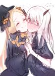 ^_^ abigail_williams_(fate/grand_order) bangs black_bow black_dress black_hat blonde_hair blush bow cheek-to-cheek closed_eyes closed_mouth commentary_request dress eyes_closed fate/grand_order fate_(series) fixro2n flying_sweatdrops hair_bow hand_holding hat highres holding_hands horn interlocked_fingers lavinia_whateley_(fate/grand_order) long_hair long_sleeves multiple_girls nose_blush orange_bow parted_bangs pink_eyes simple_background sketch sleeves_past_fingers sleeves_past_wrists smile sweat very_long_hair white_background white_hair