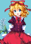 :d arms_behind_back blonde_hair blue_background blue_eyes bow bowtie eyebrows_visible_through_hair flower frills hair_between_eyes hair_ribbon highres lily_of_the_valley looking_at_viewer medicine_melancholy medium_hair open_mouth puffy_short_sleeves puffy_sleeves purple_shirt red_bow red_ribbon red_skirt ribbon ruu_(tksymkw) shirt short_sleeves simple_background skirt smile solo touhou