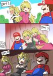 1boy 2girls bare_shoulders black_dress blonde_hair blue_earrings blue_eyes blush blush_stickers bowsette cabbie_hat comic dress engrish faceless hand_on_another's_hand hat horns long_hair mario_(series) movie_theater multiple_girls nervous new_super_mario_bros._u_deluxe nintendo nose_blush outdoors overalls photo_booth pink_dress ponytail princess_peach ranguage red_shirt sesield shirt short_hair strapless strapless_dress super_crown
