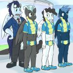2014 abs anthro anthrofied bulge clothing equine eyewear feathered_wings feathers footwear friendship_is_magic fuze goggles male mammal mercury_(mlp) my_little_pony nervous office pegasus shoes soarin_(mlp) star_hunter_(mlp) thunderlane_(mlp) whistle wings wonderbolts_(mlp)
