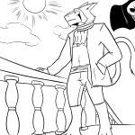 2018 black_and_white boat clothed clothing digital_media_(artwork) flag gold_(metal) gold_jewelry jewelry jorm male mammal markings monochrome outside pirate rail sergal ship simple_background sky smile solo standing vehicle