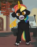 car english_text equine fan_character hair horn looking_at_viewer male mammal marsminer monster my_little_pony orange_eyes rainbow solo teeth text unicorn vehicle