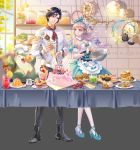1boy 1girl absurdres apron backpack bad_anatomy bag black_eyes black_footwear black_hair black_pants blue_dress blue_eyes blue_footwear blue_sky breasts butter cake cat chef_hat cupcake dango day detached_collar dress drink eye_contact flower food fruit gelatin guozi_li hat highres ice ice_cube indoors jar looking_at_another medium_breasts mixing_bowl original pancake pants parfait plant plate potted_plant shadow silver_hair sky slice_of_cake smile spatula spoon stack_of_pancakes standing strawberry sushi table tablecloth wagashi wall whisk white_legwear window wristband
