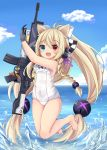 1girl animal_ears bare_arms bare_shoulders black_gloves blonde_hair blue_eyes blue_sky blush braid breasts cat_ears character_name cloud cloudy_sky covered_navel eyebrows_visible_through_hair g41_(girls_frontline) girls_frontline gloves gun h&k_g41 heterochromia holding holding_gun holding_weapon jumping long_hair norikoseal one-piece_swimsuit open_mouth red_eyes sky small_breasts swimsuit very_long_hair weapon white_swimsuit