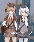 1girl alternate_costume bag bird_tail bird_wings brown_hair cabbie_hat cloak collared_shirt commentary cowboy_shot dnsdltkfkd eurasian_eagle_owl_(kemono_friends) eyebrows_visible_through_hair grey_hair hat head_wings highres kemono_friends kemono_friends_festival long_sleeves magnifying_glass multicolored_hair multiple_girls neck_ribbon northern_white-faced_owl_(kemono_friends) owl_ears pantyhose plaid plaid_shorts plaid_skirt pleated_skirt puffy_shorts ribbon satchel shirt short_hair shorts skirt white_hair wings