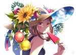 1girl black_shirt blue_flower blue_ribbon blue_rose blush boku_no_hero_academia brown_eyes brown_hair cloud flower food hat hat_flower hat_ribbon holding holding_food long_hair looking_at_viewer nanaminn open_mouth popsicle red_flower red_rose ribbon rose shirt sleeveless sleeveless_shirt solo sun_hat sunflower upper_body uraraka_ochako watermelon_bar white_background yellow_flower