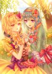 2girls absurdres alternate_hairstyle aqua_dress bang_dream! bangs blonde_hair blue_hair blue_ribbon bow braid bush center_frills day dress esol_98 eyebrows_visible_through_hair floral_print flower food food_themed_hair_ornament frilled_gloves frills fruit gloves grape_hair_ornament grapes hair_flower hair_ornament hair_over_shoulder hair_ribbon hairband hand_holding highres long_hair matsubara_kanon multiple_girls open_mouth outdoors pink_ribbon print_dress purple_bow purple_eyes red_bow red_eyes ribbon rose shirasagi_chisato single_braid smile strawberry strawberry_hair_ornament striped striped_ribbon tan_gloves tree twin_braids upper_body white_gloves wrist_flower yellow_dress yellow_flower yellow_rose