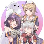 3girls =_= ahoge animal_ears bat_wings bell bell_choker bell_collar choker closed_eyes collar commentary error eyepatch fake_animal_ears fang ghost ghost_costume grey_hair hair_between_eyes hairband halloween halloween_costume hat hatami_(zyuden) hayasaka_mirei highres hoshi_shouko idolmaster idolmaster_cinderella_girls idolmaster_cinderella_girls_starlight_stage light_brown_hair long_hair medium_hair morikubo_nono multiple_girls nurse nurse_cap orange_choker pitchfork purple_hair ringlets stitches strapless surprised sweatdrop very_long_hair werewolf wings wolf_ears wolf_paws