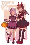 2girls :d bangs bare_legs black_legwear blue_eyes bow brown_hair choker demon_tail demon_wings dress drop_shadow english frilled_dress frilled_gloves frills full_body gloves hair_bow hair_ornament hairband hairclip halloween hand_holding horn_ornament idolmaster idolmaster_cinderella_girls inverted_colors jack-o'-lantern koshimizu_sachiko lantern layered_dress looking_at_viewer low_wings mary_janes multiple_girls muted_color one_eye_closed open_mouth platform_footwear puffy_sleeves pumpkin purple_frills purple_gloves purple_hair red_footwear red_frills red_legwear rounded_corners sakuma_mayu shoes short_hair simple_background slim_legs smile standing tail thighhighs trick_or_treat uso_(ameuzaki) wings