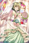 1girl :d bare_shoulders blue_eyes blush bouquet breasts brown_hair church dress elbow_gloves flower gloves green_eyes hetero highres idolmaster idolmaster_cinderella_girls large_breasts looking_at_viewer mole mole_under_eye open_mouth see-through shirokuma_a short_hair smile solo standing takagaki_kaede veil wedding_dress white_gloves