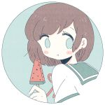1girl blush brown_hair circle dessert earrings eating food fruit green_eyes green_sailor_collar highres jewelry medium_hair no_nose noeru_(noellemonade) original popsicle portrait red_earrings sailor_collar school_uniform serafuku shirt solo watermelon white_shirt