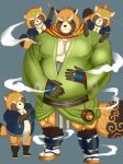 2018 anthro belly brown_fur canine clothing footwear fundoshi fur group gyobu humanoid_hands japanese_clothing leaf male mammal one_eye_closed overweight overweight_male robe sandals scar starxstar123 tanuki tattoo tokyo_afterschool_summoners underwear wink young