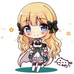 1girl bangs black_bow blonde_hair blue_eyes blunt_bangs blush boots bow breasts brooch character_request chibi closed_mouth collared_dress commentary_request detached_sleeves dress eyebrows_visible_through_hair full_body gloves hair_bow hand_up heart heart_in_eye highres index_finger_raised jewelry knee_boots long_hair medium_breasts nyano21 princess_connect! princess_connect!_re:dive puffy_short_sleeves puffy_sleeves short_sleeves signature smile solo standing symbol_in_eye very_long_hair white_background white_dress white_gloves white_legwear