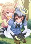 2girls :3 animal_ears backlighting bangs black_hair black_neckwear black_skirt blonde_hair blue_shirt bodystocking bow bowtie brown_eyes bush commentary_request common_raccoon_(kemono_friends) day eyebrows_visible_through_hair fang fennec_(kemono_friends) fox_ears fox_tail frown fur_collar gloves grass grey_hair hand_on_another's_shoulder head_wreath highres holding kemono_friends kneeling leaning_forward mahirutarou miniskirt multicolored_hair multiple_girls open_mouth orange_neckwear outdoors pantyhose pink_sweater pleated_skirt puffy_short_sleeves puffy_sleeves raccoon_ears raccoon_tail shirt short_hair short_sleeves sitting skirt smile sweater tail tree v-neck white_legwear white_skirt