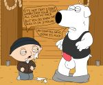 animal_genitalia baby balls bottomless brian_griffin canine clothed clothing cum cum_on_face dialogue dog erection family_guy hat human humor interspecies male male/male mammal open_mouth penis rope shirt sitting squint standing stewie_griffin sweat tank_top teeth young