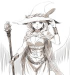 1girl blue_eyes breasts cape cleavage diana_cavendish drawfag earrings hand_up hat hat_feather highres jewelry little_witch_academia long_hair looking_at_viewer medium_breasts older sketch solo spot_color staff standing witch_hat