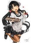 1girl ahoge apron bangs black_hair black_skirt blush breasts brown_eyes brown_legwear dated fish floating_heart hadanugi_dousa hand_up head_tilt highres holding holding_plate japanese_clothes kantai_collection leg_up long_hair looking_at_viewer low-tied_long_hair medium_breasts one_eye_closed open_mouth plate pleated_skirt saury shouhou_(kantai_collection) sidelocks signature simple_background skirt smile solo thighhighs toka_(marchlizard) very_long_hair white_background