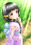 1girl back_bow black_hair blue_bow blush bow braid closed_mouth commentary_request dress floral_print flower grass hair_flower hair_ornament hair_over_shoulder highres idolmaster idolmaster_cinderella_girls japanese_clothes kimono lens_flare long_hair long_sleeves looking_at_viewer obi outdoors print_kimono purple_kimono regular_mow revision road sash side_braid single_braid smile solo standing sunlight tongue tongue_out ujiie_mutsumi very_long_hair wide_sleeves yellow_flower
