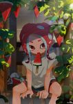 1girl black_shorts cat food food_in_mouth grey_shirt highres hot kashu_(hizake) kojajji-kun_(splatoon) leaf lens_flare looking_at_viewer medium_hair monster_girl mouth_hold nintendo octarian octoling plant pointy_ears popsicle rainbow red_eyes red_hair shade shirt short_eyebrows short_sleeves shorts signature sitting splatoon splatoon_2 splatoon_2:_octo_expansion suction_cups summer sunlight sweat tentacle_hair vines watermelon_bar wooden_floor