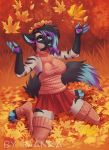 2018 4_toes 5_fingers absolute_territory anthro autumn blue_nose breasts clothed clothing day digital_media_(artwork) female hyena imanika kneeling legwear mammal miniskirt outside skirt solo stockings striped_hyena toes
