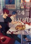 2boys black_shirt blood blood_on_shoes bloody_fork bloody_knife blue_eyes blue_hair booth cherry contemporary dd_(vktr4837) diner fate_(series) food fork french_fries fruit hamburger ice_cream knife koha-ace looking_at_another major_matou male_focus menu mori_nagayoshi_(fate) multiple_boys red_hair sharp_teeth shirt shoes sneakers spiked_hair sundae table teeth wavy_hair white_shirt window