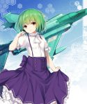 1girl back_bow bangs blouse bob_cut bow brooch closed_mouth commentary_request cover cover_page disconnected_mouth dot_nose expressionless frilled_shirt_collar frilled_sleeves frills girly_air_force hand_up high-waist_skirt highres honeycomb_(pattern) honeycomb_background jewelry light_green_hair looking_at_viewer novel_cover phantom_(girly_air_force) puffy_short_sleeves puffy_sleeves purple_bow purple_skirt sapphire_(stone) shiny shiny_hair shirt_tucked_in short_hair short_sleeves single_horizontal_stripe skirt solo standing suspender_skirt suspenders vehicle_request white_blouse white_neckwear yellow_eyes yki