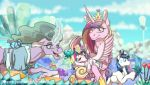 2018 blonde_hair blue_eyes blurred_background child clothed clothing cloud crown crystal crystal_empire cutie_mark detailed_background diaper digital_media_(artwork) equine eye_contact family feathered_wings feathers female feral flower flurry_heart_(mlp) footwear friendship_is_magic fur gem glowing green_hair group hair happy hooves horn inner_ear_fluff inuhoshi-to-darkpen magic_user male mammal mane mistmane_(mlp) mostly_nude mountain multicolored_hair my_little_pony nude old open_mouth open_smile outside pink_fur pink_hair pink_wings plant princess_cadance_(mlp) purple_eyes purple_hair quadruped royalty shining_armor_(mlp) shirt sky smile standing sweat sweatdrop text topless unicorn url wide_eyed winged_unicorn wings young
