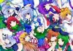 6+girls :3 :o :q ;) ;d american_flag_dress animal_ear_fluff animal_ears arm_up bangs black_bow black_hair black_hairband black_hat black_ribbon blonde_hair blouse blue_dress blue_eyes blue_neckwear blue_skirt bob_cut bow braid breasts brown_hair bunny_ears cat_ears clownpiece collarbone commentary_request covering_mouth dress eyebrows_visible_through_hair frog_hair_ornament green_background green_bow green_dress green_eyes green_hair green_ribbon green_vest hair_between_eyes hair_bow hair_ornament hair_ribbon hair_tubes hairband hand_holding hands_up hat head_tilt highres horns ishimu izayoi_sakuya jester_cap kaenbyou_rin kijin_seija kochiya_sanae konpaku_youmu large_breasts long_hair long_sleeves looking_at_viewer maid maid_headdress medium_breasts mononobe_no_futo multicolored_hair multiple_girls neck_ribbon neck_ruff necktie nishida_satono one_eye_closed open_mouth parted_lips pink_dress pink_eyes polka_dot_hat pom_pom_(clothes) ponytail profile puffy_short_sleeves puffy_sleeves purple_hair purple_hat purple_sash red_dress red_eyes red_hair red_neckwear red_sailor_collar reisen_udongein_inaba ribbon sailor_collar shirt short_hair short_hair_with_long_locks short_sleeves silver_hair simple_background single_sidelock skirt smile snake_hair_ornament streaked_hair striped striped_dress teireida_mai tongue tongue_out toramaru_shou touhou twin_braids twintails upper_body upside-down vest white_blouse white_dress white_hair white_shirt wide_sleeves wing_collar yellow_bow yellow_eyes
