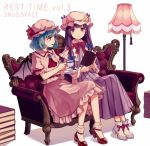 2girls ankle_boots ankle_socks arms_up bangs bat_wings blouse blue_hair book book_stack boots brooch commentary_request couch cravat cup double_bun dress english eyebrows_visible_through_hair floor_lamp hat hat_ribbon holding holding_book holding_cup holding_saucer jewelry kashiwagi_chisame long_hair looking_at_another looking_at_viewer mob_cap multiple_girls neck_ribbon open_book open_mouth patchouli_knowledge pink_blouse pink_skirt puffy_short_sleeves puffy_sleeves purple_dress purple_eyes purple_hair red_eyes red_footwear red_ribbon remilia_scarlet ribbon robe saucer short_hair short_sleeves sitting skirt skirt_set striped striped_dress teacup touhou very_long_hair white_footwear white_legwear wings