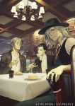 3boys antonio_salieri_(fate/grand_order) black_hair chin_rest coffee contemporary eating edmond_dantes_(fate/grand_order) eyes_closed fate/grand_order fate_(series) fedora fork glasses grey_hair hair_slicked_back hat jewelry multiple_boys necktie official_art plate ring sherlock_holmes_(fate/grand_order) table watermark yuu_kikuchi
