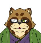 2018 anthro brown_fur canine clothing eyewear fur glasses male mammal robe slightly_chubby solo tanuki tenugui tiri_mama