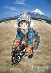 bangs beanie beige_scarf bicycle black_hair blue_hair blue_sky blush brown_footwear cloud cloudy_sky coat cold commentary copyright_name day fingerless_gloves fisheye fringe_trim gloves grass ground_vehicle hat highres jacket knit_hat long_hair long_sleeves looking_at_viewer maroon_eyes mount_fuji mountainous_horizon multicolored_coat outdoors parted_lips pom_pom_(clothes) purple_eyes scarf shima_rin sky solo straight_hair tent tree_bowbow visible_air winter_clothes winter_coat yurucamp