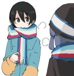 black_hair blue_hair blush green_eyes hat matching_outfit multicolored multicolored_stripes multiple_girls saitou_ena scarf shima_rin shiroshi_(denpa_eshidan) short_hair striped striped_scarf visible_air white_background winter_clothes yurucamp
