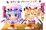 +_+ 2girls arm_above_head arms_up bat_wings blonde_hair blouse blue_hair blush brooch chibi chocolat_(momoiro_piano) commentary_request cravat crystal drooling eyebrows_visible_through_hair eyes_closed fang flandre_scarlet food hair_between_eyes hand_on_own_cheek hat hat_ribbon holding holding_spoon jewelry mob_cap multiple_girls open_mouth pink_blouse plate pudding puffy_short_sleeves puffy_sleeves red_neckwear remilia_scarlet ribbon short_hair short_sleeves siblings side_ponytail simple_background sisters smile spoon table touhou translation_request upper_body white_background wings yellow_neckwear