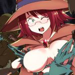 1girl ;o blush breasts glasses goblin goblin_slayer! green_eyes green_skin hat large_breasts monster nipples nose one_eye_closed peril rape robe sharp_teeth short_hair tearing_clothes teeth tongue tongue_out torn_clothes witch_hat wizard_(goblin_slayer!)
