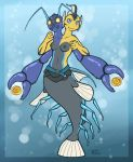 2015 2_heads 4_arms 5_fingers 8_legs antennae anthro arthropod belt blue_antennae blue_background blue_body blue_border blue_exoskeleton blue_eyes border breasts bubble chimerism claws collarbone compound_eyes conjoined cool_colors countershade_torso countershading crustacean crustacean_taur digital_drawing_(artwork) digital_media_(artwork) dorsal_fin ear_fins energy_ball eyelashes featureless_feet female fin fish fist front_view goby_fish grey_body grey_countershading grey_nipples grey_stripes head_fin humanoid_hands hybrid mandibles marine marine_taur medium_breasts merfolk mostly_nude multi_arm multi_head multi_leg multi_limb multicolored_body navel neoscottie nipples non-mammal_breasts outside_border pistol_shrimp shrimp shy simple_background smile solo spikes striped_body stripes suspended_in_midair swimming tail_fin taur underwater water yellow_body yellow_eyes