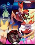 braixen burning camel_toe catcouch close-up clothing comic dialogue female fire gardevoir mammal nintendo panties pokémon pokémon_(species) pussy torn_clothing underwear video_games