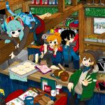 2boys 2girls ahoge apron aqua_hair black_eyes black_hair blue_eyes boku_to_uchuujin book bread brown_hair cat cellphone character_request child_drawing cup dough food fork fur_trim gloves gloves_removed hat jacket muffin multiple_boys multiple_girls nobel_(nobel827) orange_hair phone ponytail rolling_pin smartphone tray