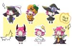 6+girls bat candy chibi closed_mouth dango_2go demon_horns demon_tail dress eyes_closed fa facial_mark fang fire_emblem fire_emblem:_fuuin_no_tsurugi fire_emblem_heroes food forehead_mark halloween_basket halloween_costume hat highres horns jack-o'-lantern jiangshi long_sleeves mamkute multiple_girls multiple_persona nintendo ofuda open_clothes open_mouth open_robe outstretched_arms pointy_ears pumpkin_hat purple_hair robe short_hair sleeves_past_fingers sleeves_past_wrists spread_arms star tail white_hat witch_hat