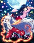 2girls :o album_cover ankle_boots arm_garter arm_up baggy_pants bamboo bangs black_hair blunt_bangs boots bow brown_eyes clenched_hand commentary_request cover danmaku dress_shirt eyebrows_visible_through_hair fighting_stance fire fujiwara_no_mokou full_moon hair_bow hair_ribbon highres houraisan_kaguya juliet_sleeves long_hair long_skirt long_sleeves miruki moon multiple_girls night night_sky ofuda open_mouth outdoors outstretched_arm pants pink_shirt ponytail puffy_sleeves red_eyes red_footwear red_skirt ribbon shirt silver_hair skirt sky sleeves_folded_up star_(sky) starry_sky suspenders touhou tress_ribbon very_long_hair white_bow white_pupils white_shirt wide_sleeves